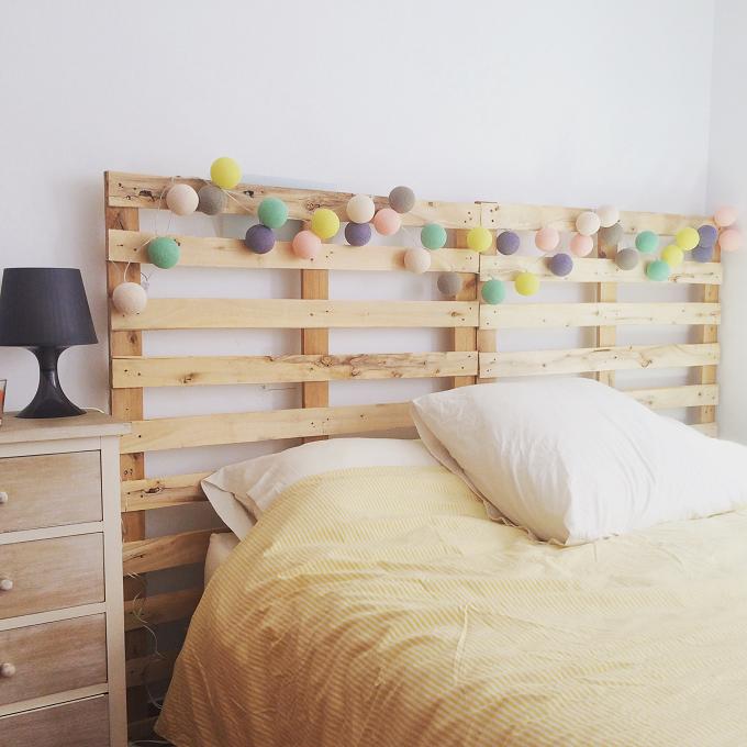 Cabecero de cama con palets reciclados ibid wood for Cama con palets